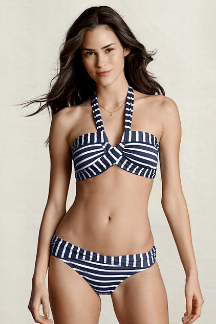 Preppy, nautical stripes look fresh and modern in crisp white and navy.  Lands' End Women's Stripe Twist Halter Bikini Top ($50) and Matching Bottoms ($45)