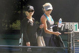 Reese Witherspoon and a friend arrived at the Brentwood Country Club to play tennis.