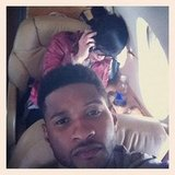 Usher snapped a photo from his airplane seat.  Source: Instagram user howuseeit