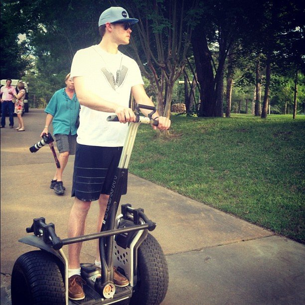 Chord Overstreet hitched a ride on a Segway.  Source: Instagram user chordover