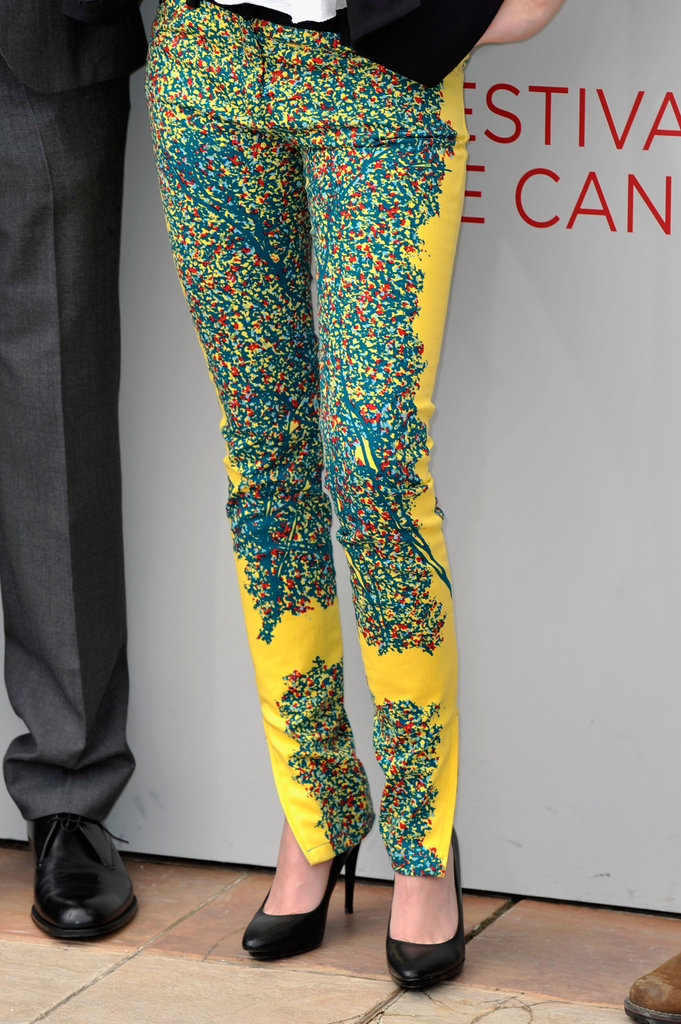 We're crushing on Kristen's superbright optic-printed Balenciaga pants.