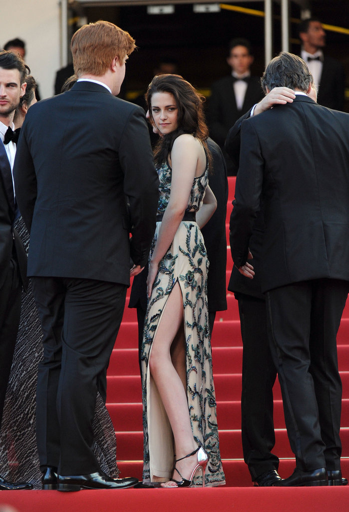 Kristen Stewart flaunted her stems and metallic heels on the red carpet.