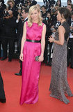 Kirsten Dunst looked lovely in a bright, raspberry-hued Dior gown.