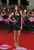 Nina looked great in this shiny black Tadashi Shoji minidress at the 2010 MuchMusic Video Awards.