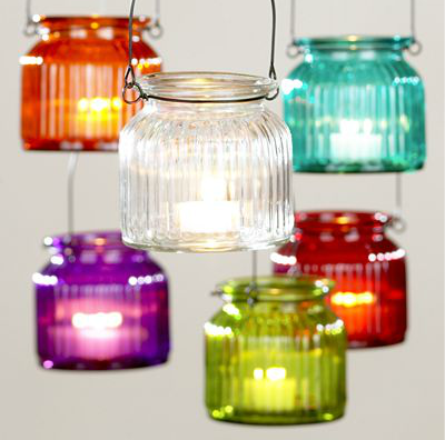 If you're dining at night, then these Hanging Glass Tealight Jars ($18 for 6) will add pretty pops of light and color to your table.