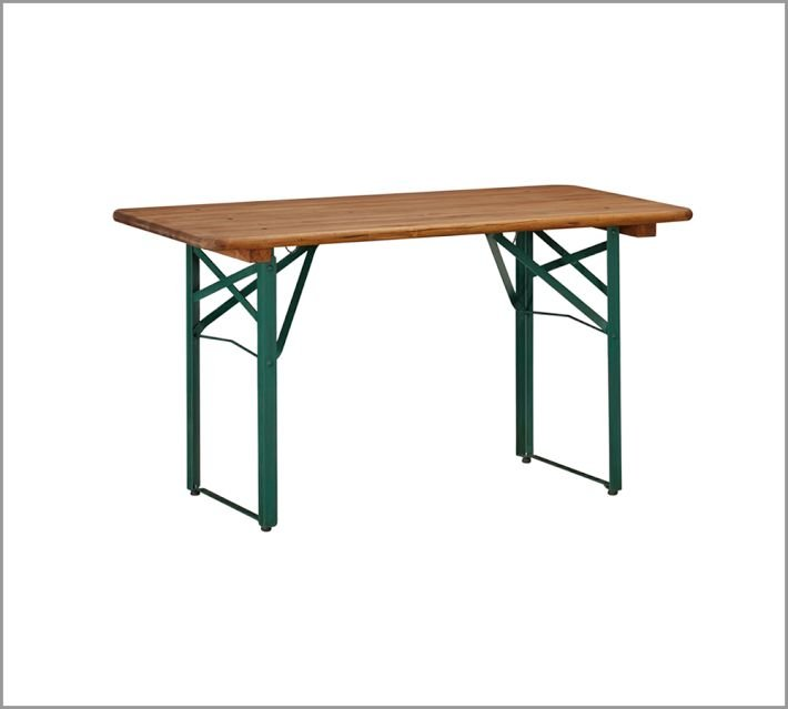 The Tavern Rectangular Fixed Folding Dining Table ($350 and up, originally $499) can be folded and moved to wherever the party's happening. It's crafted from planked mahogany tops with dark-green-painted metal bases.