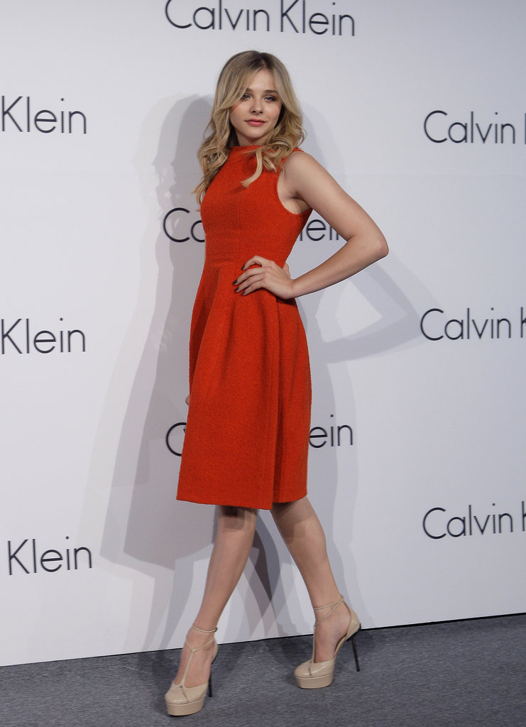 Chloe Moretz posed for photos at the Calvin Klein event in Korea.