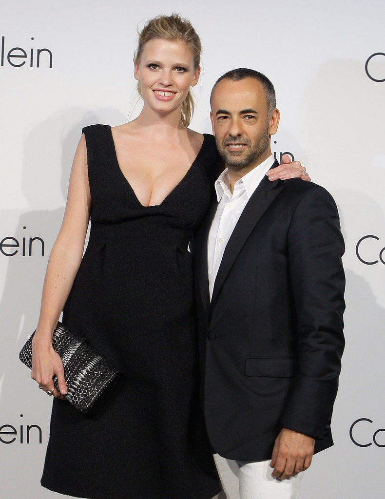 Francisco Costa and Lara Stone posed together at the Calvin Klein Collections event.