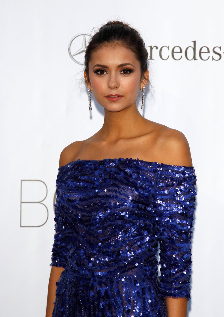 Nina Dobrev radiated sapphire sophistication in one of Elie Saab's off-the-shoulder numbers.