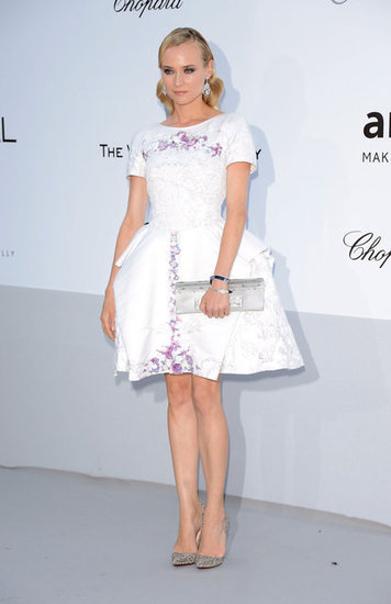 Diane Kruger is perfection in a straight from Chanel's Resort 2013 LWD. The fit-and-flare frock featured the most gorgeous lilac embellishments and to finish, the starlet added sparkly silver metallic pumps and a long silver clutch into the mix.