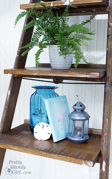 Create a leaning display shelf out of an old ladder.  Source: Pretty Handy Girl