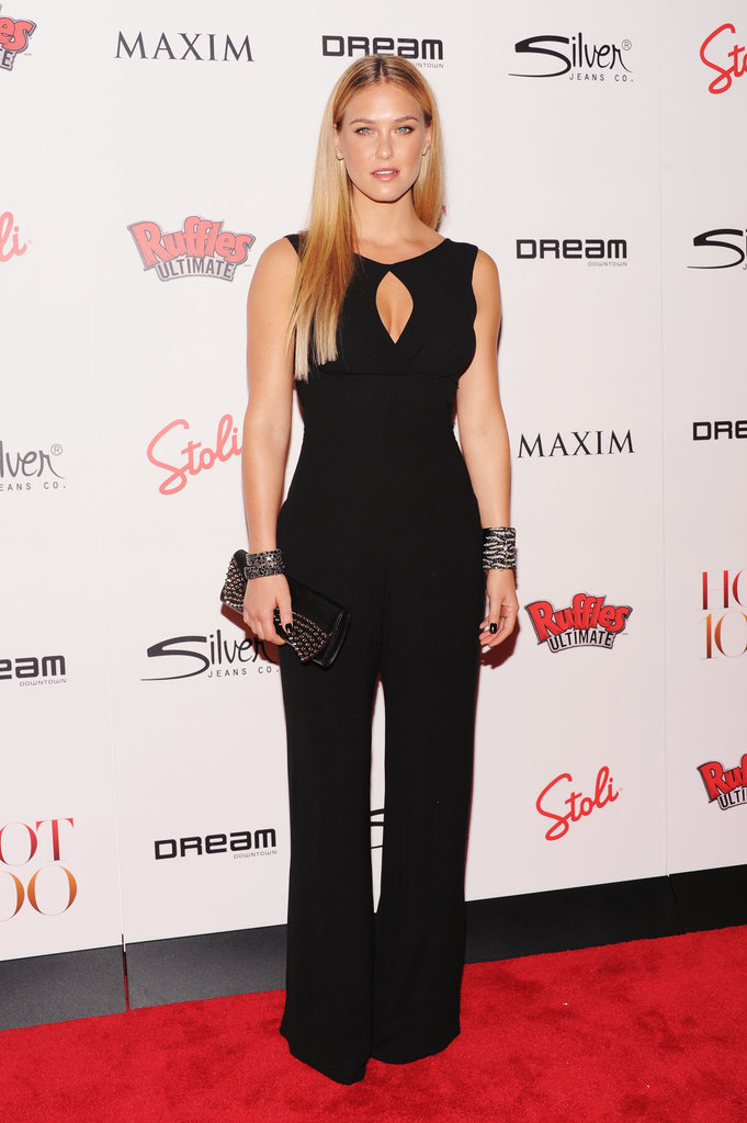 Bar Refaeli wore a black pantsuit to the Maxim Hot 100 List party in NYC.