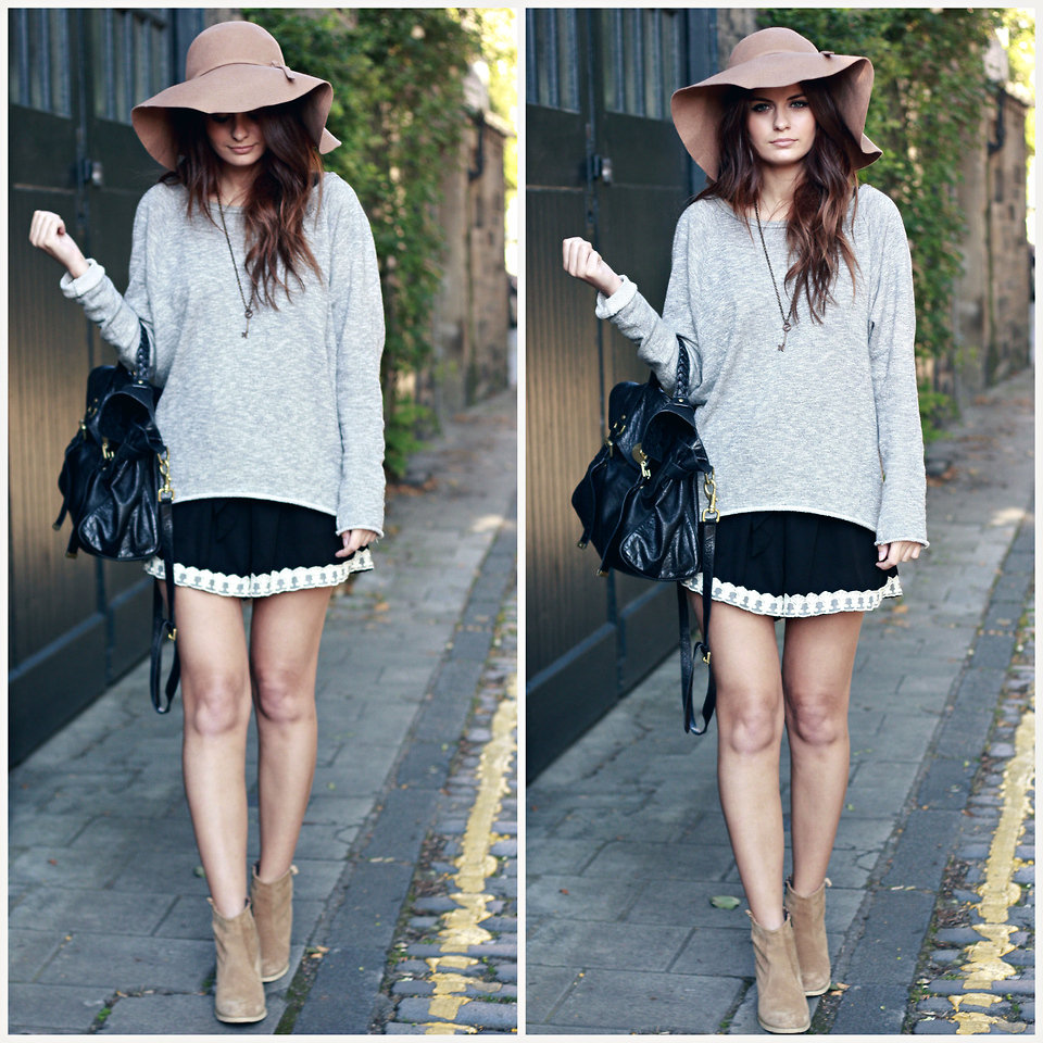 For a more laid-back bohemian look, layer a light oversized knit topper over a sexy slipdress. Then, add a floppy hat and ankle boots for a chilled-out finish. Photo courtesy of Lookbook.nu