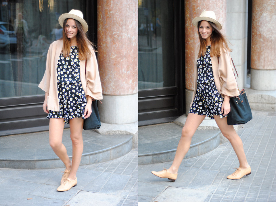 Polish off a girlie floral frock with a straw fedora hat and nude lace-up brogues. Photo courtesy of Lookbook.nu