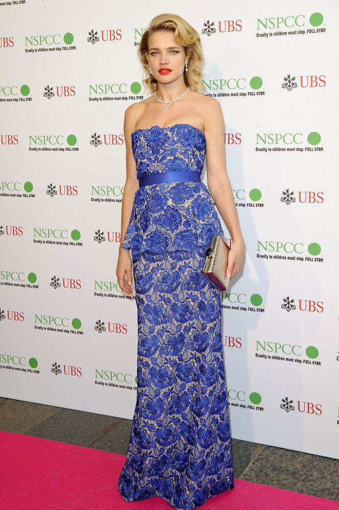Natalia Vodianova conjured up images of Grace Kelly in a gorgeous blue Stella McCartney gown at the NSPCC Pop Art Ball in London.