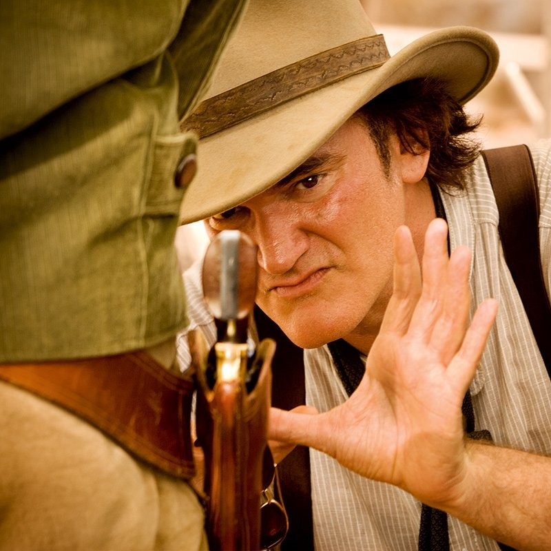 Quentin Tarantino on the set of Django Unchained. Photos courtesy of The Weinstein Co.