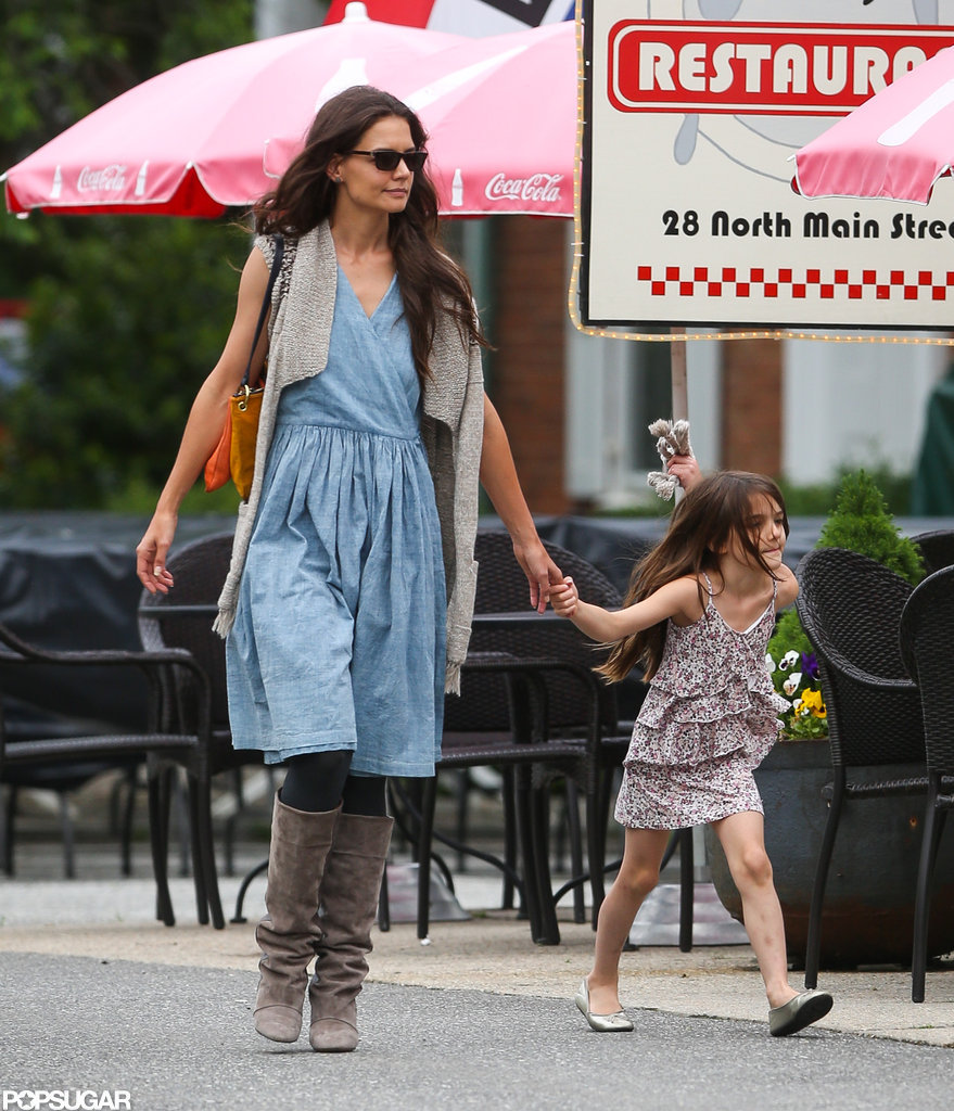 Katie Holmes and Suri Cruise walked in Connecticut.