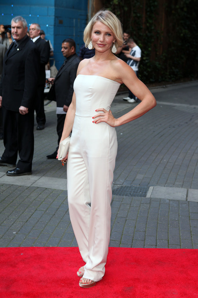 Cameron Diaz suited up in a sleek, strapless Stella McCartney jumpsuit for a cool seasonal alternative to the LWD.