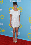 Lea Michele's white mini would look just as chic with a pair of flat sandals.