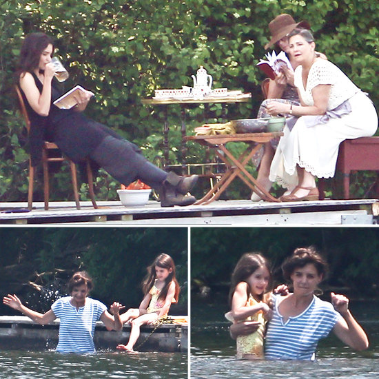 Katie Holmes Sips a Beer on Set, Then Takes a Dip With Suri