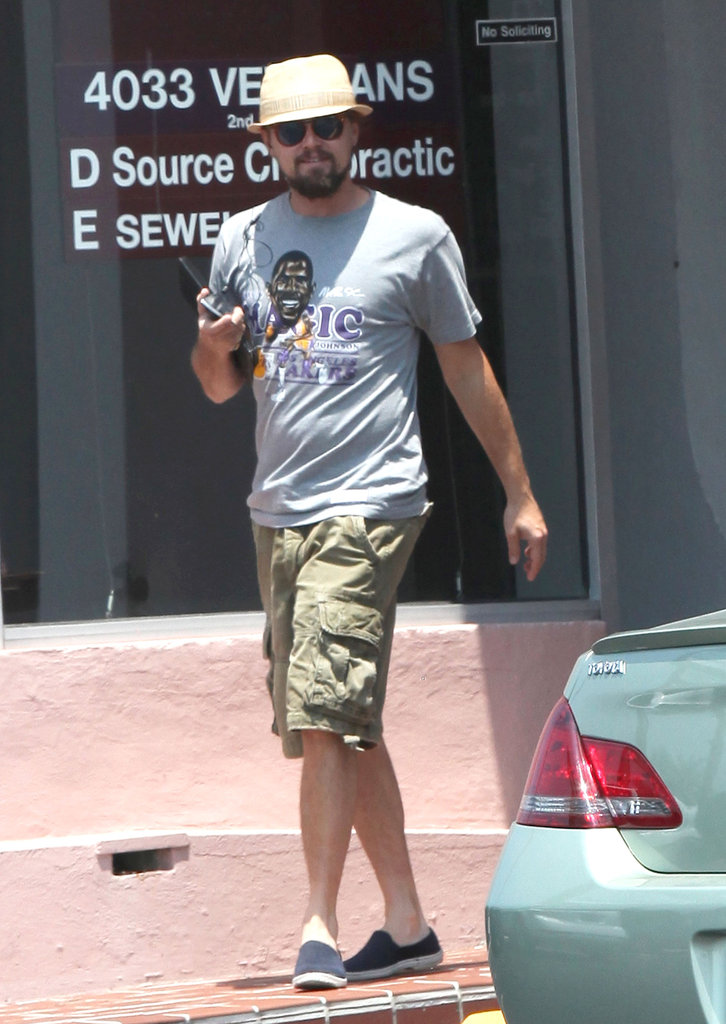 Leonardo DiCaprio smiled as he strolled.
