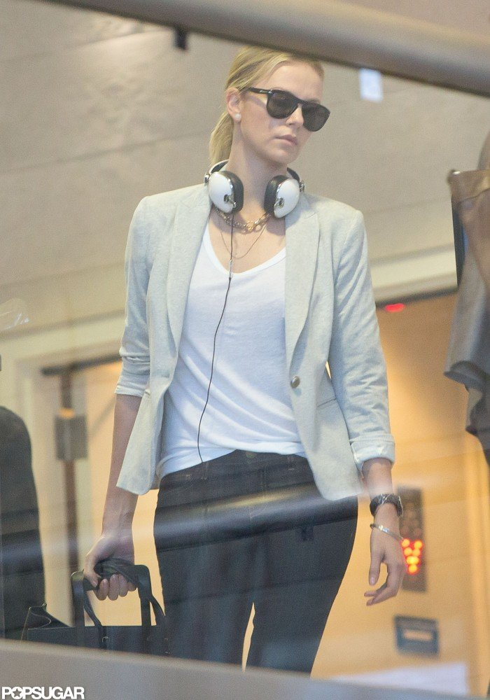 Charlize Theron marked the holiday on a flight from LAX to NYC.