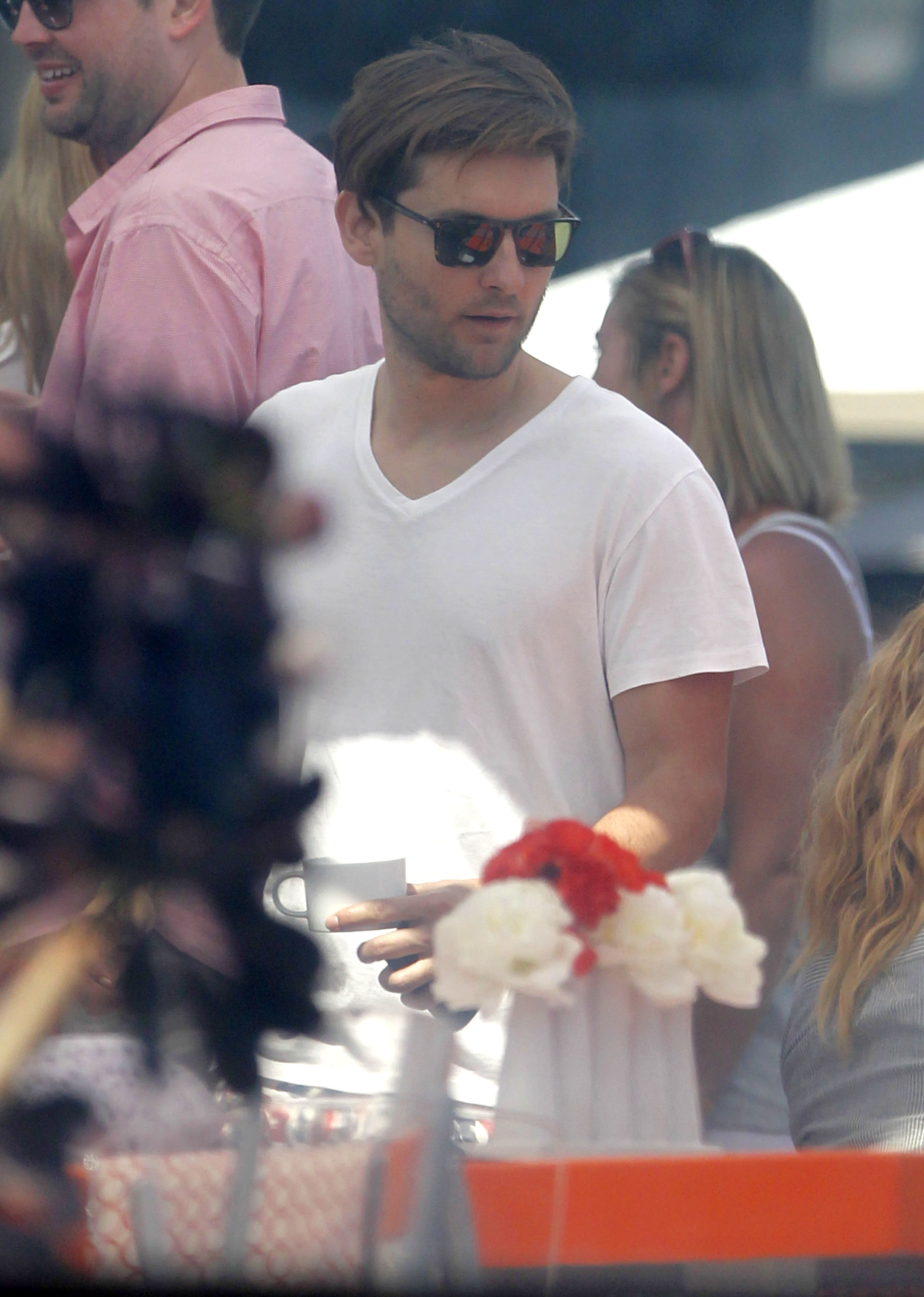 Tobey Maguire was a guest at a Memorial Day party at Joel Silver's house in LA.