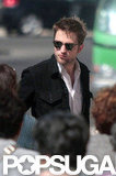 Robert Pattinson wore dark sunglasses in Lisbon.