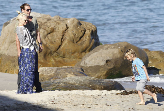 Gwen Stefani and Gavin Rossdale played on the Malibu beach with son Kingston Rossdale.