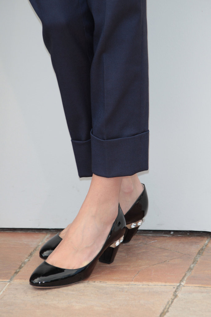 At second glance, Audrey's minimalist pumps get a cool update via the funky heels.