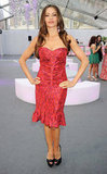 Sofia Vergara stuck to her signature sexy silhouette, this time in a pink Zac Posen fit-and-flare minidress.