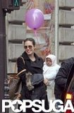 Angelina Jolie walked in Paris with baby Zahara Jolie-Pitt in February 2006.