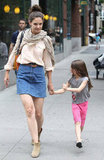 Katie Holmes and Suri Cruise looked cute together as they walked hand-in-hand.