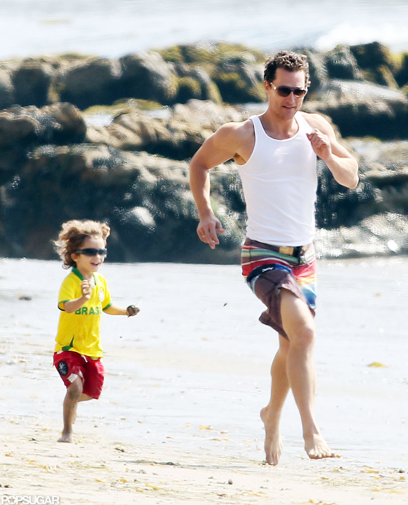 Matthew McConaughey ran on the beach with Levi.