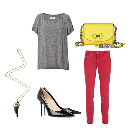 For a night out, we suggest taking a simple approach. Nothing feels cooler than a perfect-fit tee done up with the right ingredients: a pair of classic pointed-toe pumps, a bit of statement jewelry, and a cool pop of color to complement your bottoms. Get the look:  MIH Paris Cropped Mid-Rise Skinny Jeans ($185) Current/Elliott Heather Grey Vintage Oversize T-Shirt ($150) Jimmy Choo Abel Pointed Patent-Leather Pumps ($495) Sam Ubhi Statement Tusk Pendant ($96, originally $365) Mulberry Mini Chain-Strap Patent-Leather Shoulder Bag ($465)