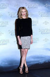 Charlize styled a Rag & Bone knit top with an Alexander Wang skirt and Giuseppe Zanotti sandals for the Berlin photo call of Snow White.