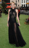 Charlize Theron stunned in a gauzy, barely there Dior creation at the Snow White and the Huntsman UK premiere.