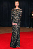 The actress stepped out in a lace-covered Emilio Pucci gown for the White House Correspondents' Association dinner.