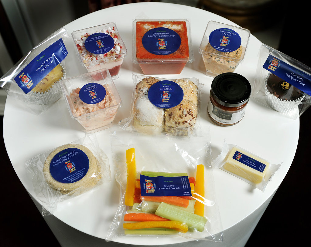 The Diamond Jubilee picnic accoutrements that will be for guests at Buckingham Palace this weekend were displayed.