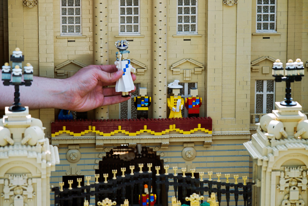 The Lego Queen Elizabeth II was placed in a model of Buckingham Palace at Legoland in Windsor.