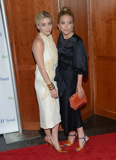 Zooming out, Ashley wore a white fitted halter dress, and Mary-Kate donned a silky black one.