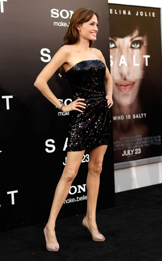 Angelina Jolie wore a short mini dress to the July 2010 LA premiere of Salt.