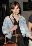 Keira Knightley left a restaurant with fiancé, James Righton, to celebrate their engagement with a night out in London.