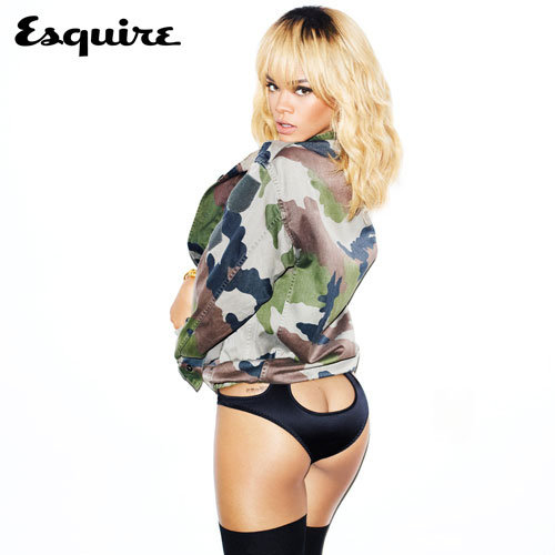Rihanna showed skin in Esquire UK.