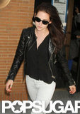 Kristen Stewart wore a leather jacket.