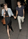 Keira Knightley and James Righton held hands on the way to dinner in London.