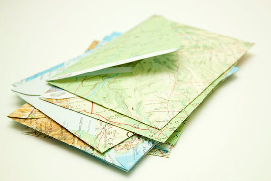 Feeling a bit of wanderlust? Channel your jet-setting passion with these ecofriendly Upcycled Atlas Envelopes ($9 for 10).