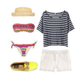 "For a sailing date, there's really no reason not to go full-on nautical chic — after all, you're on a boat! Layer a printed bikini with crisp white shorts and a striped tee, then add a pair of classic boat shoes in a fresh, fun color combo. Add a straw hat and sunglasses, and you'll be perfectly prepped for a day at sea. Get the look:  Topshop Straw Pork Pie Hat ($45) R13 Striped Cropped Pocket Tee ($155) J.Crew 4"" Chino Short ($45) Milly For Sperry Top-Sider Authentic Original Boat Shoes ($83) Emamo Messico Printed Bikini ($290)"