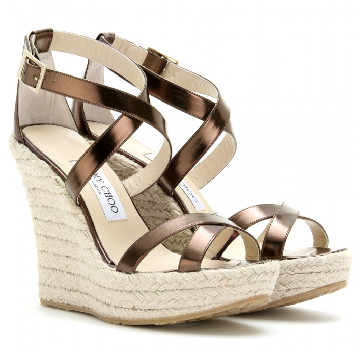 """Nothing says Summer like a pair of espadrille sandals. I love the glamorous metallic bronze finish on these Jimmy Choo beauties. Perfect for pairing with breezy LWDs and maxi skirts."" — Chi Diem Chau, associate editor  Jimmy Choo Porto Leather Espadrilles ($395)"