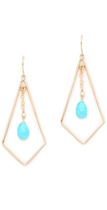 """As of late, I can't seem to escape my turquoise fixation. Is it just me or does this particular brand of blue make everyone look tanner? I love how delicate these earrings are, but still manage to show off a cool geometric shape."" — Marisa Tom, associate editor  Heather Hawkins Tri-Drop Earrings ($66)"